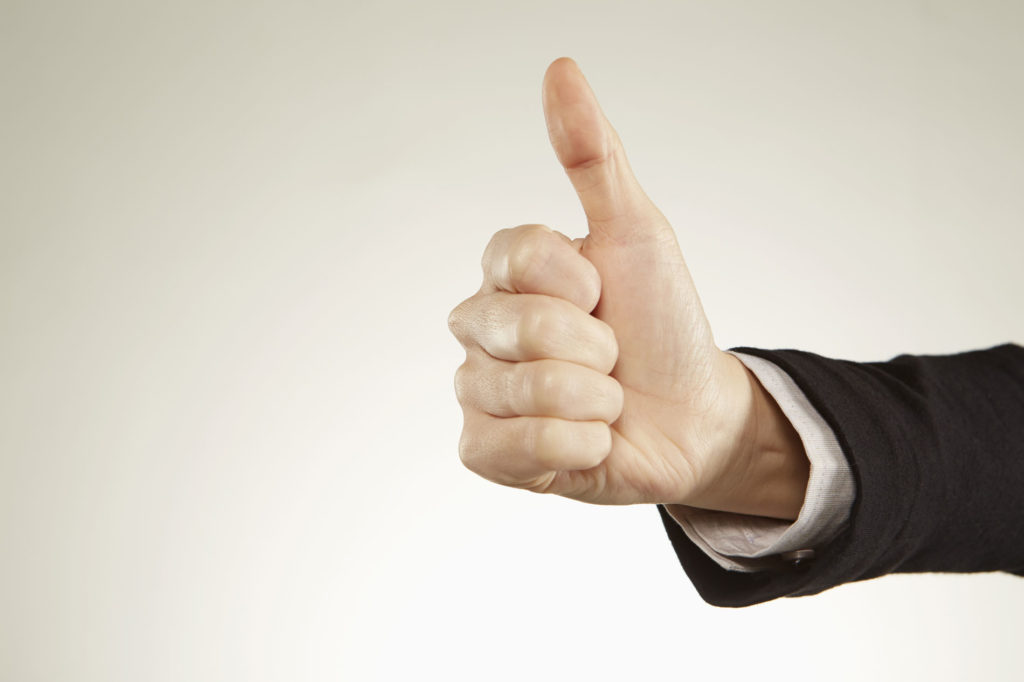 Person giving thumbs up